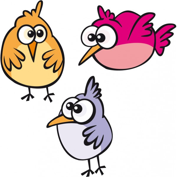 ... de los niños, con el dibujo de unos divertidos pajaritos de colores