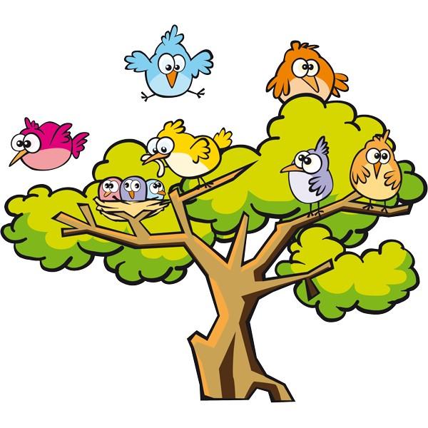 ... juegos de los niños, con el dibujo de un árbol lleno de pajaritos