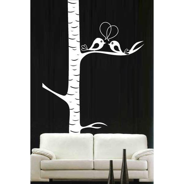 Vinilo decorativo Árbol con pajaros enamorados