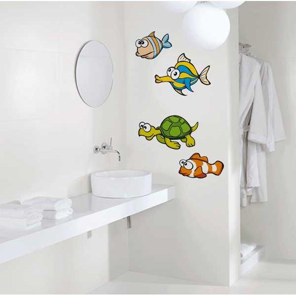 peces y tortuga