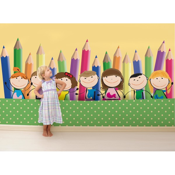niños con lápices