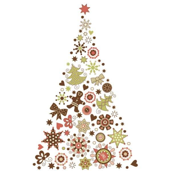 Vinilo decorativo árbol adornos navidad vinilo transparente