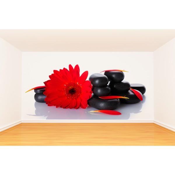 flor roja piedras negras