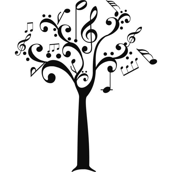 Vinilo Decorativo Arbol Notas Musicales