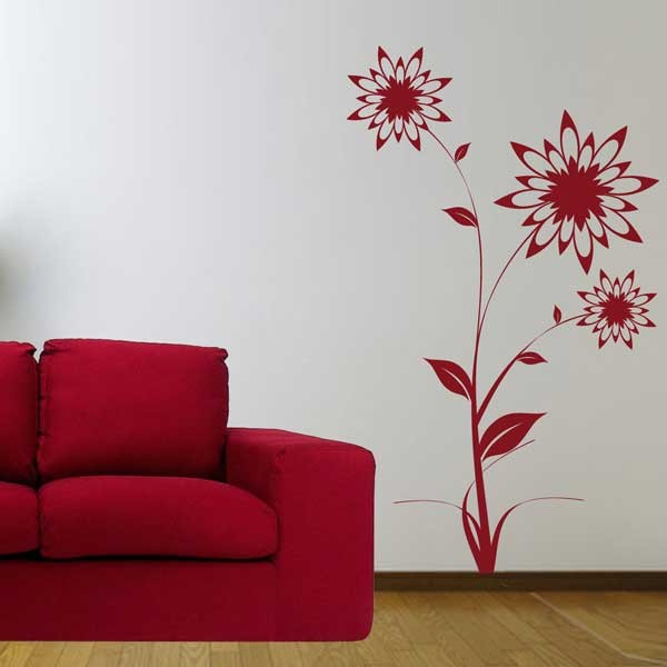 Vinilo decorativo flores puntiagudas for Vinilos pared grandes