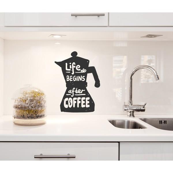 Vinilo decorativo cafetera life begins after coffee