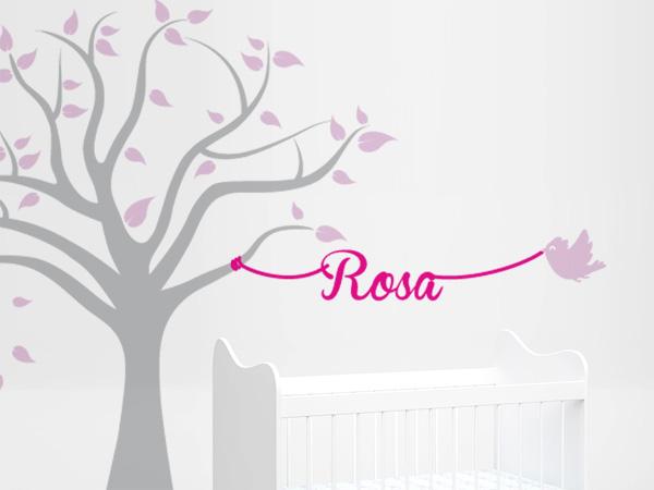 Arbol con pajaros y nombre rosa