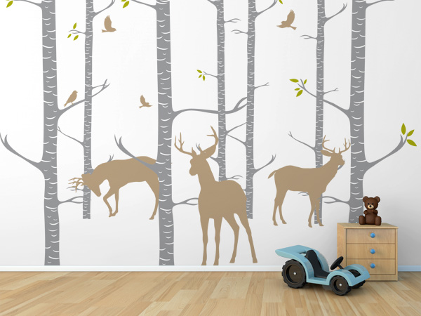 Bosque con ciervos y pájaros