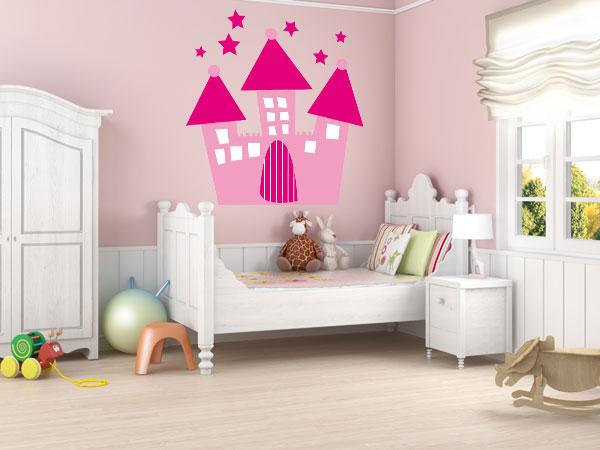 Castillo con estrellas rosa