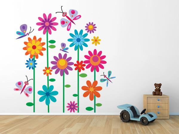 Flores y mariposas de colores