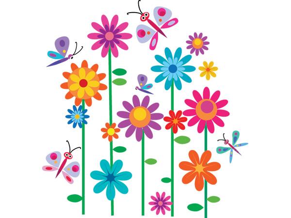 Vinilo infantil flores y mariposas de colores - Dibujos para paredes infantiles ...