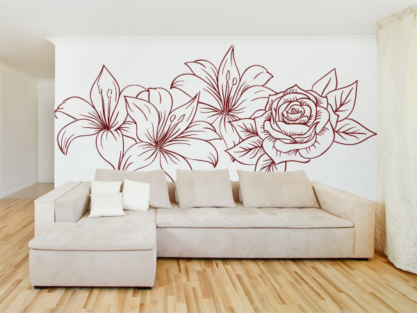Flores y rosa lineas