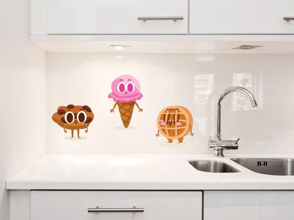 Gofre, galleta y helado