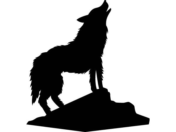 Silueta Lobo: Vinilo Decorativo Lobo Aullando
