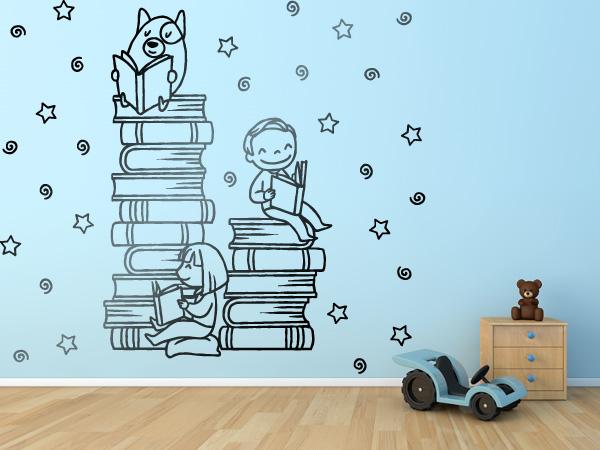 Niños y perro leyendo
