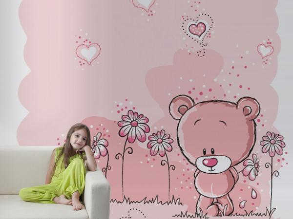 Osito con flores rosas