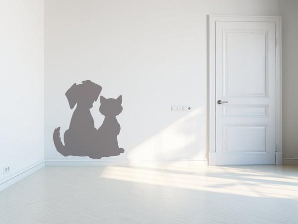 Silueta perro y gato