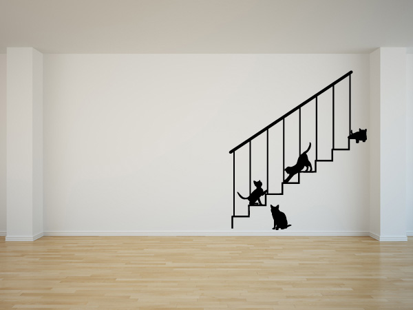 Escalera con gatitos